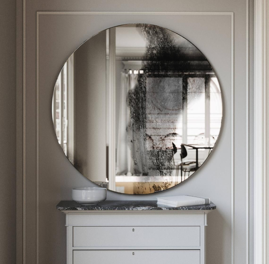 Round Frameless Wall Mirror Antiqued Wall Mirror With Etsy Mirror Wall Antique Mirror Wall Round Wall Mirror