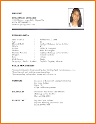 Image Result For Personal Biodata Simple Resume Format Job Resume Format Resume Format Examples