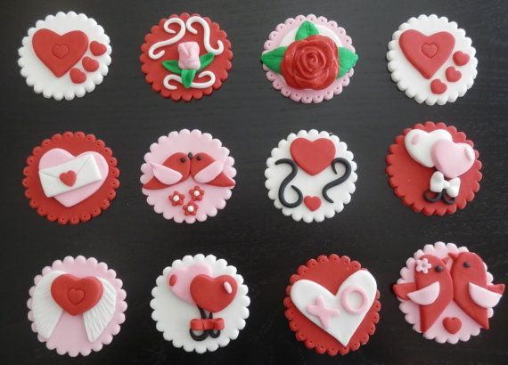 Valentine Fondant Cupcake Toppers Item By Arleenstoppers On Etsy