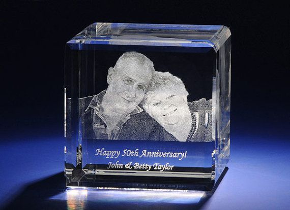 3D Laser Etched Hologram Crystal Glass Cube Wedding Theme Paperweight