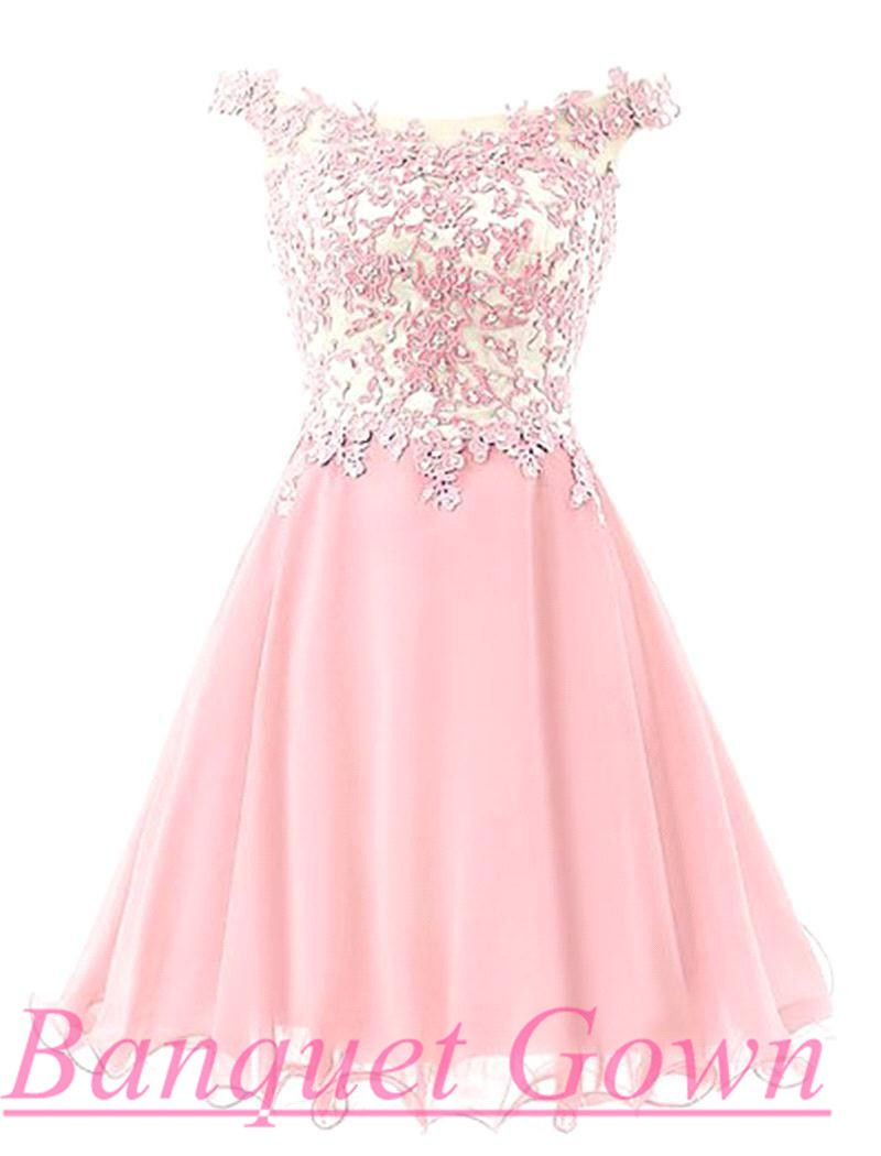 Lovely Illusion Cap Sleeve Short Pink Homecoming Dress With Lace ...