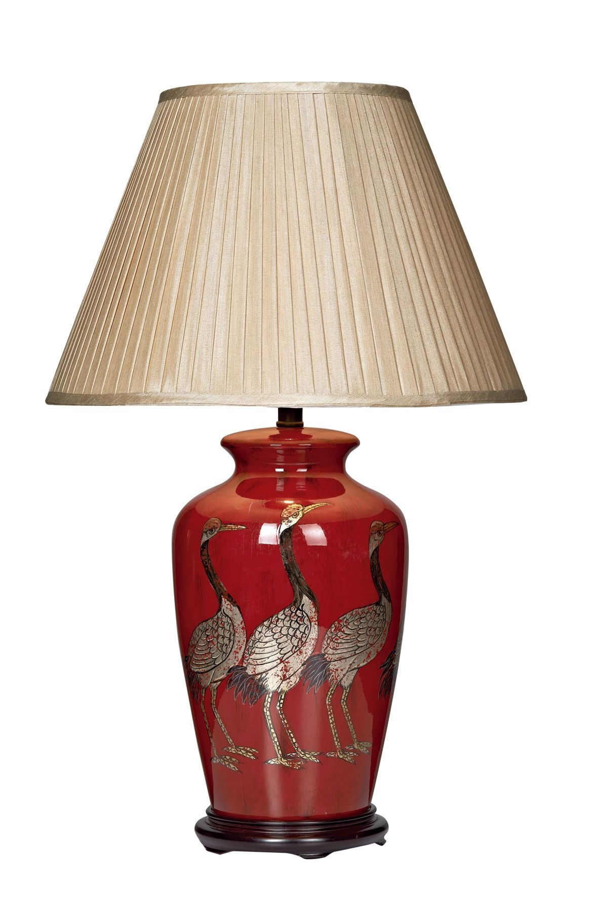 Deep Red Ceramic Glazed Base With Repeating Bird Pattern In