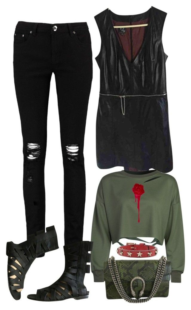 """""""Rebel"""" by polychampion-668 ❤ liked on Polyvore featuring Boohoo, McQ by Alexander McQueen, WithChic, Acne Studios, Gucci and RED Valentino"""