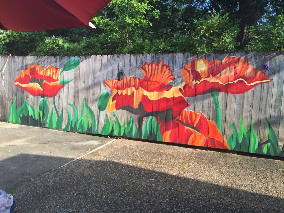 Mural on privacy fence my crafts and projects for Mural painting ideas
