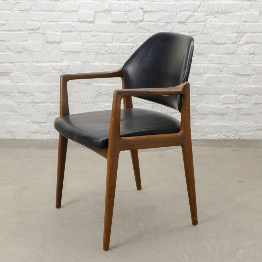 For Sale Mid Century Scandinavian Design Teak Wood Leather Desk Side Chair 1960s Meble Design