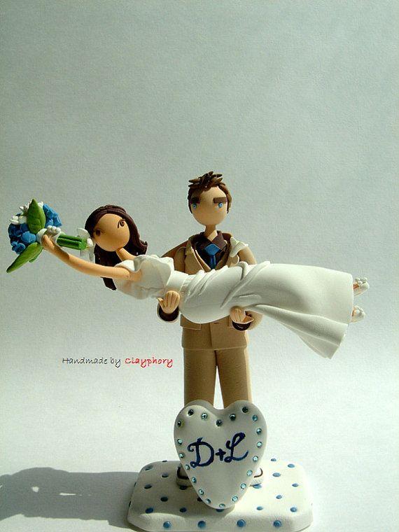 Honeymoon Jitters - Customized wedding cake topper  http://www.etsy.com/shop/Clayphory