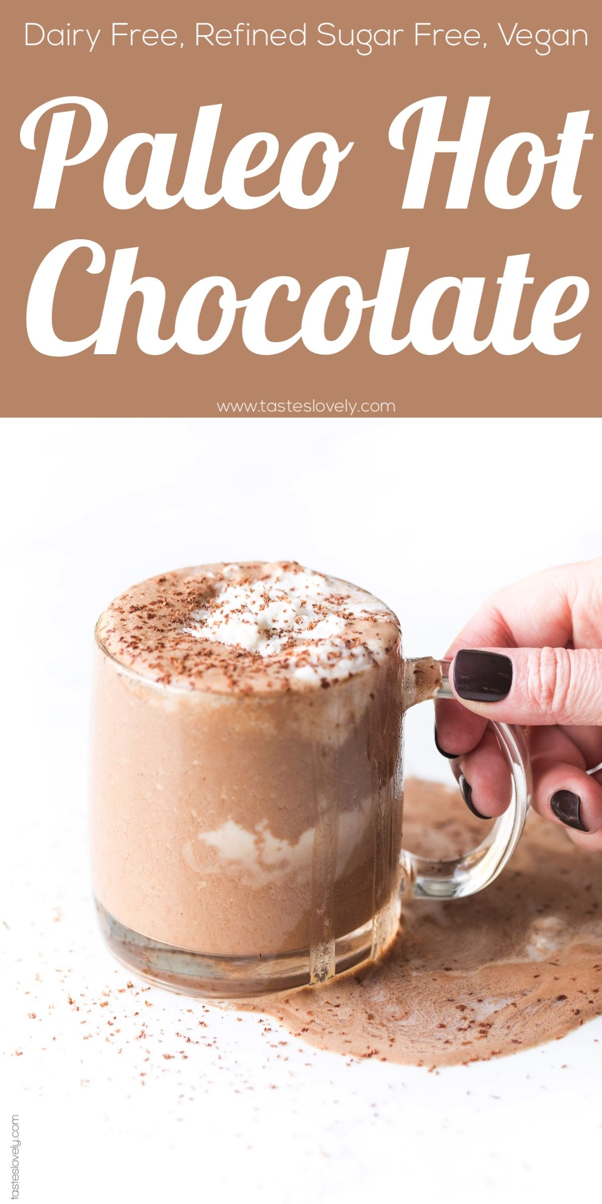 Healthy Paleo Hot Chocolate Made With 5 Ingredients In The Microwave With Almond Milk And Paleo Hot Chocolate Healthy Hot Chocolate Sugar Free Hot Chocolate
