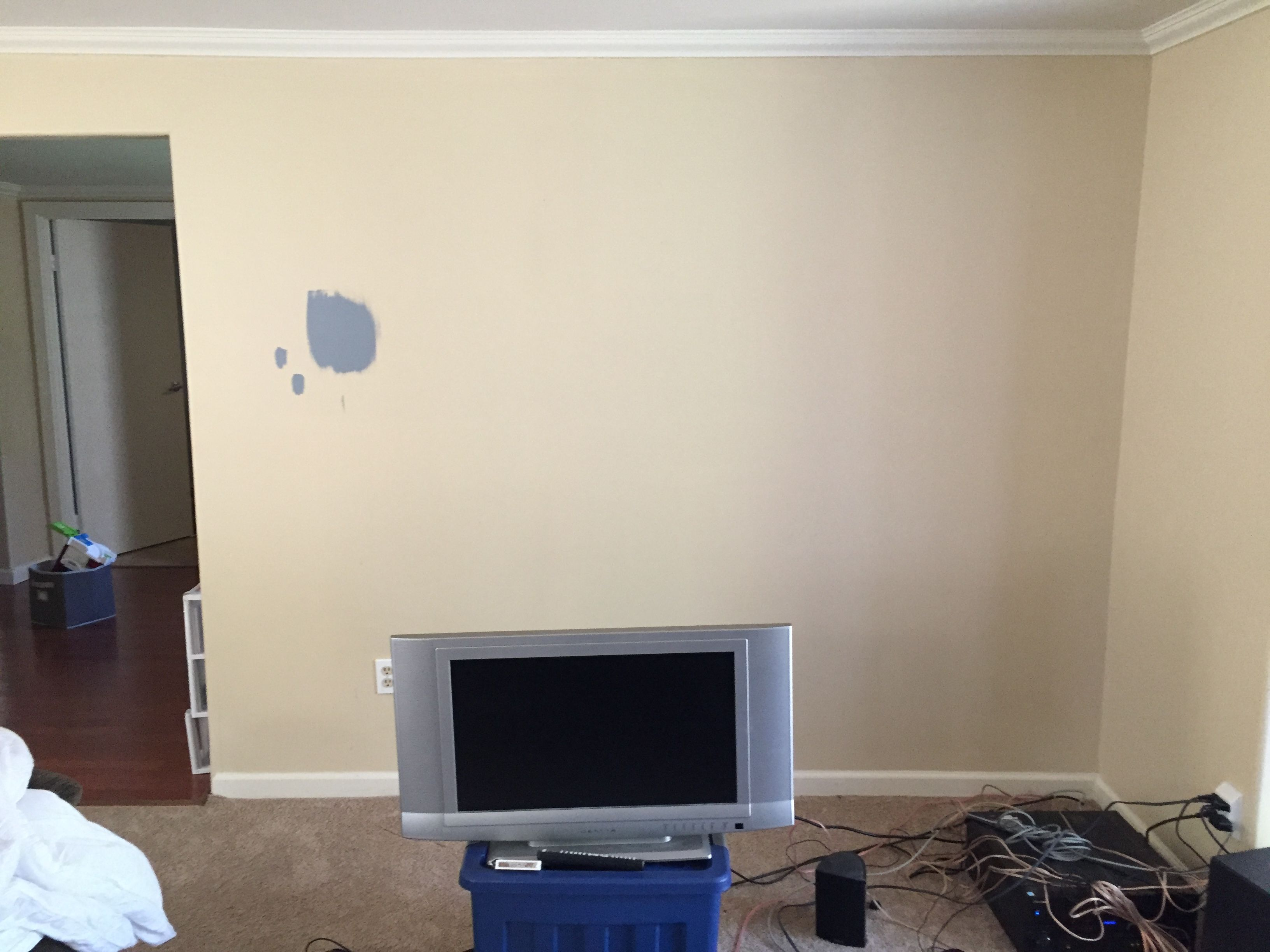 Living Room Setup With Wall Mounted Tv Hidden Wires And 71 Stereo How To Hide Wiring For Surround Sound