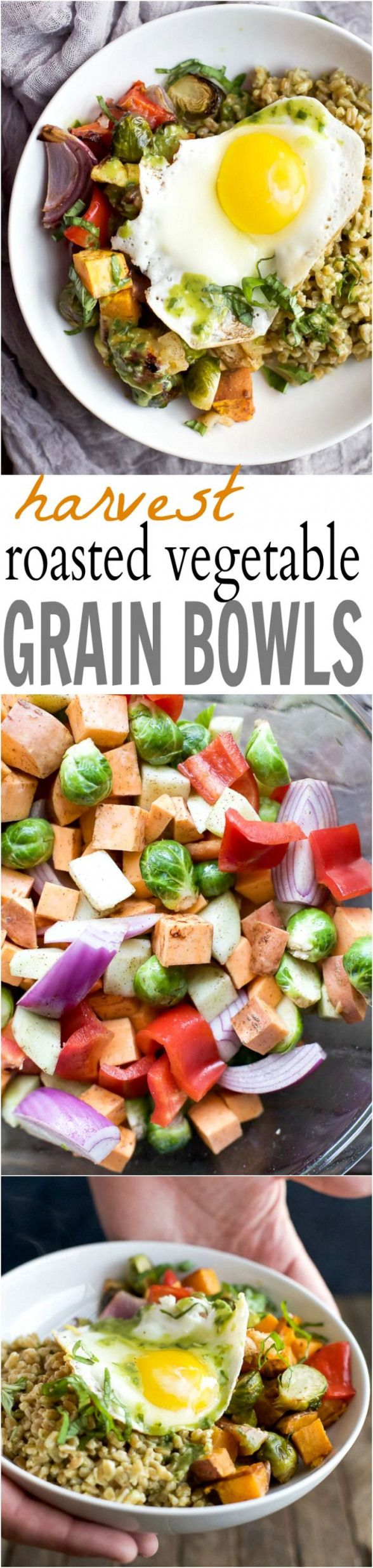 Harvest Roasted Vegetable Grain Bowls  a healthy filling fall inspired dinner recipe packed with nutrients and bursting with flavor Youll love the dressing the farro is t...