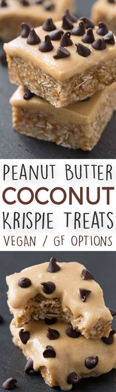 Peanut Butter Coconut Rice Krispie Treats (with gluten-free, vegan and whole grain options)