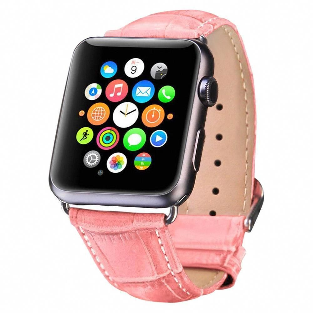 iPM Crocodile Leather Band for Apple Watch 38mm Pink