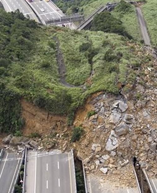 Eathquake induced land slide on three lane highway in Keelung, Taiwan