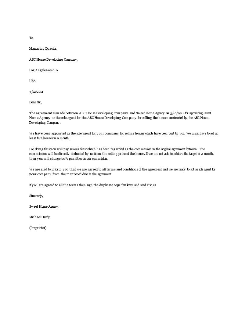 Download Sample Sole Agent Agreement Letter Letter