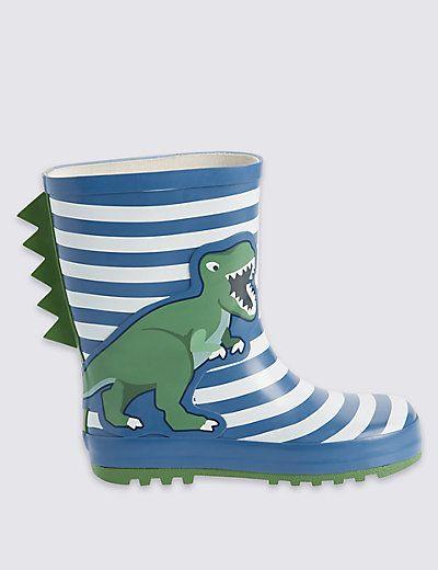Kids' Pull On Dinosaur Print Wellington Boots   M&S £12