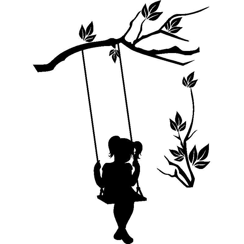 Sticker Fille sur une balançoire de larbre
