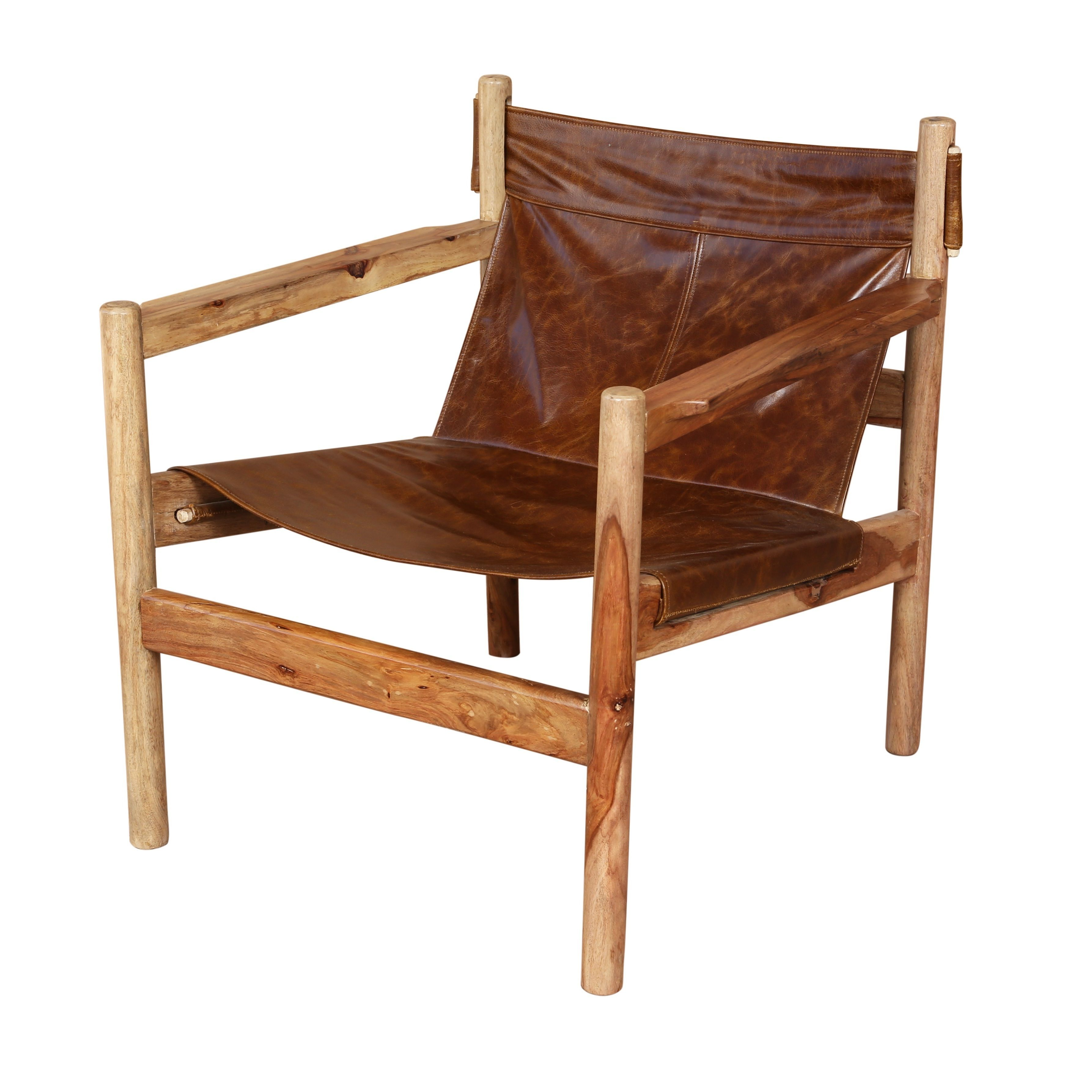 Handmade Genoa Sheesham And Leather Sling Chair 30 X 26 X 27 India Quality Furniture Living Room Chairs Chair