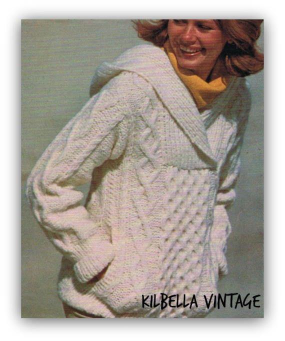 Women's Aran Hooded Sweater Knitting Pattern Hoody Sweater ...
