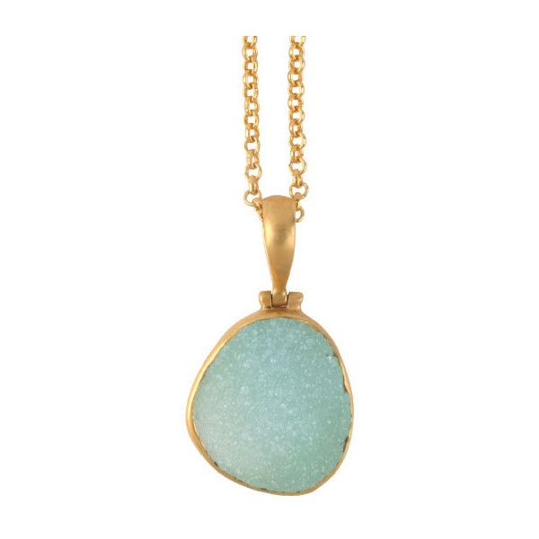 SuShilla Long Pastel Green Druzy Quartz Necklace ($355) ❤ liked on Polyvore