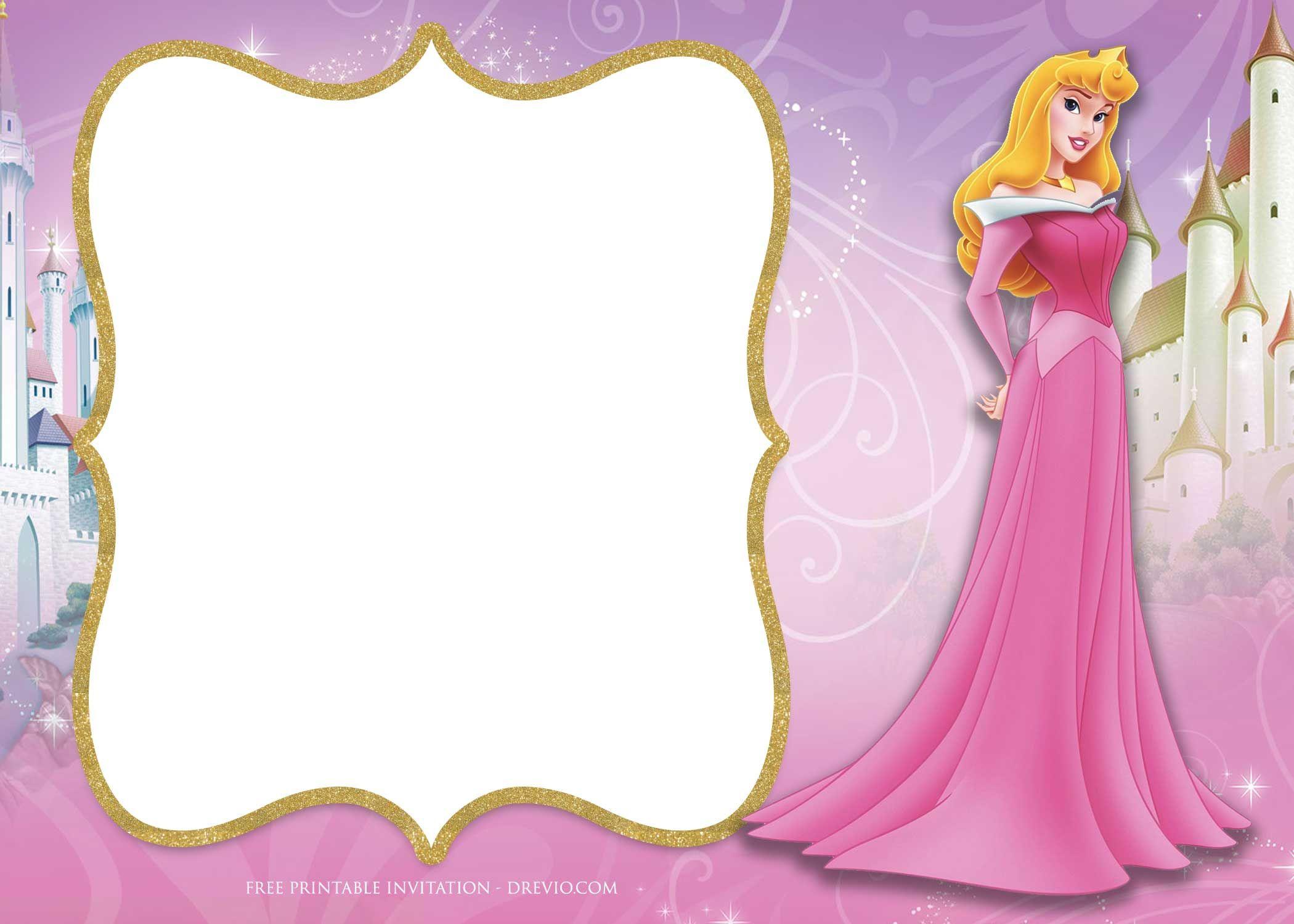 Cool FREE Printable Princess Aurora Sleeping Beauty Invitation Templates