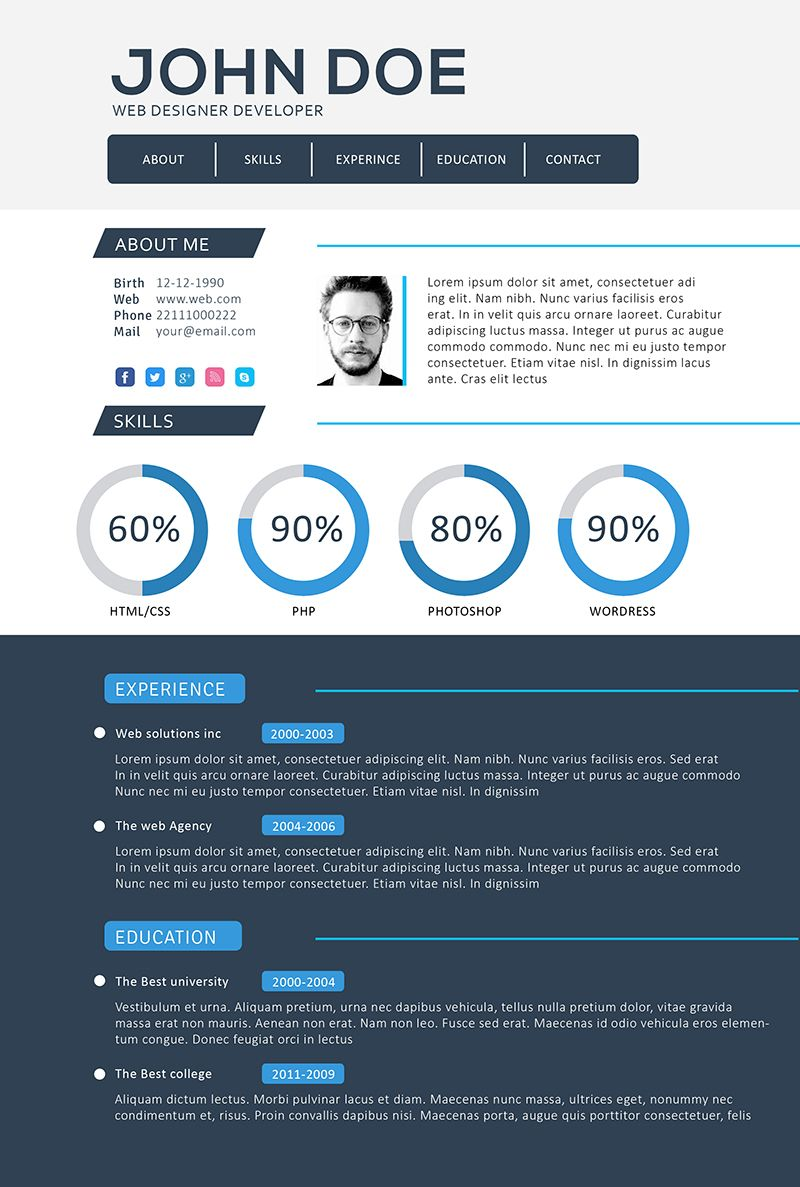 Front end (web) developer resume template | Digital design ...