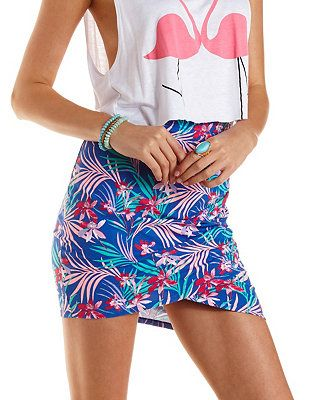28d569c2a8 Tropical Print Ruched Mini Skirt  Charlotte Russe