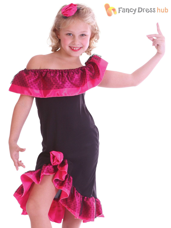 e0bae7cd7226 Girls Flamenco Costume Childs Spanish Dancer Fancy Dress Salsa Rumba Outfit