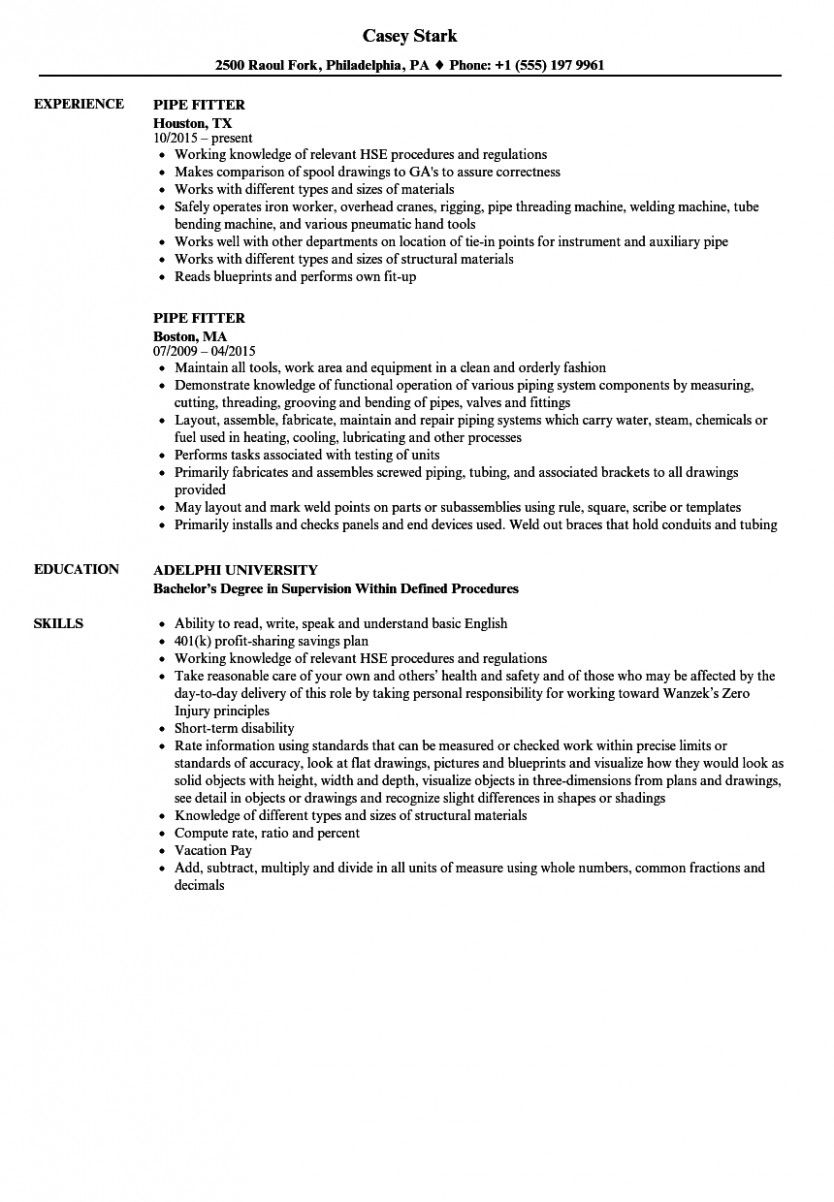 14 Iti Fitter More energizing Resume Format in 2020