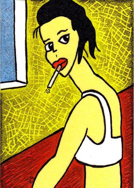 'her' e9Art ACEO Female Cigarette Smoking Pop Art Folk Outsider Brut Original #PopArt