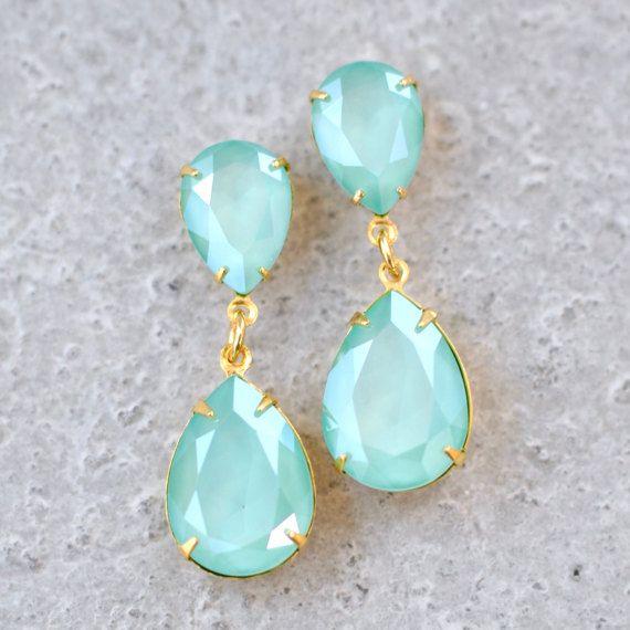 3ac2e43d8bb56 Mint Green Swarovski Crystal Earrings Rhinestone Dangle Pastel Green ...