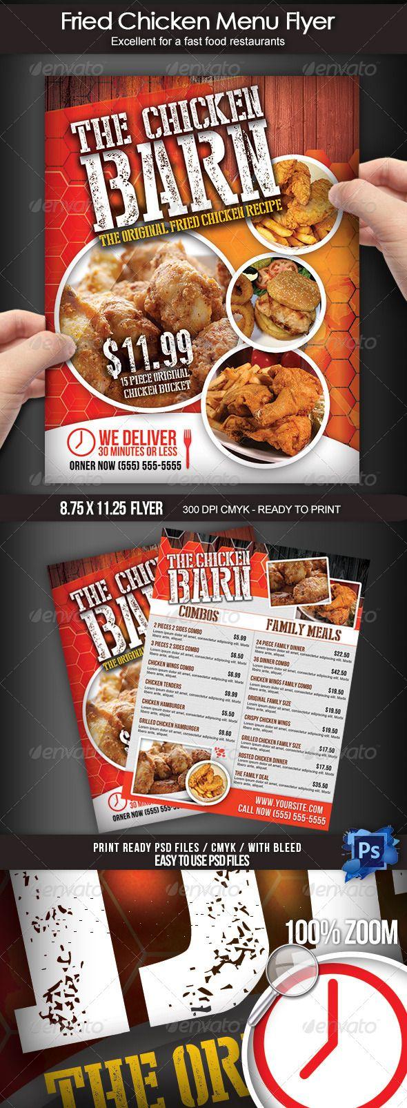 Fried Chicken Menu Flyer  Chicken Menu Menu Templates And Template