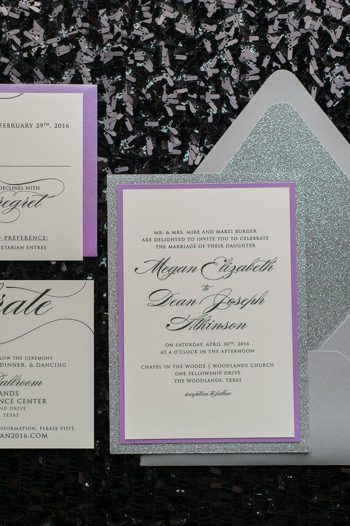 Fabulous Grey and Lavender Modern Calligraphy Wedding Invitations