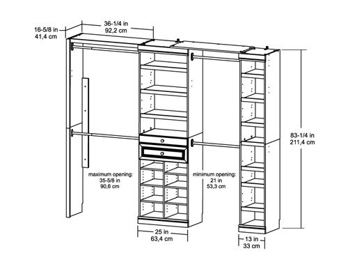 Artistic standard closet bar depth roselawnlutheran for Walk in closet dimensions