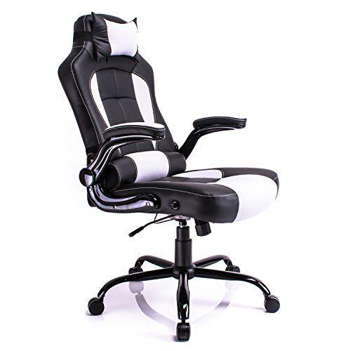 chaise de bureau racing sport inclinable pivotante noir blanc