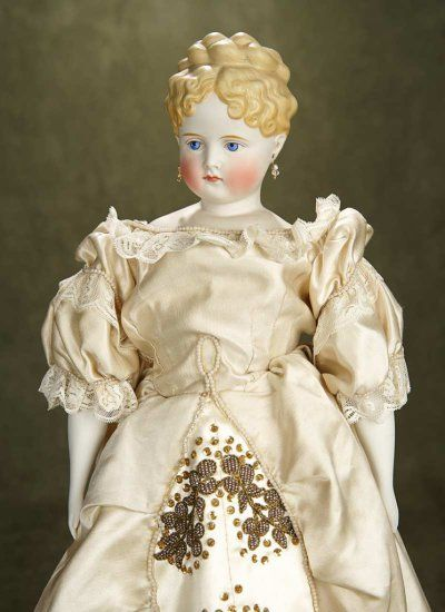 """21"""" German bisque lady doll with fancily sculpted blonde hair. $800/1100"""