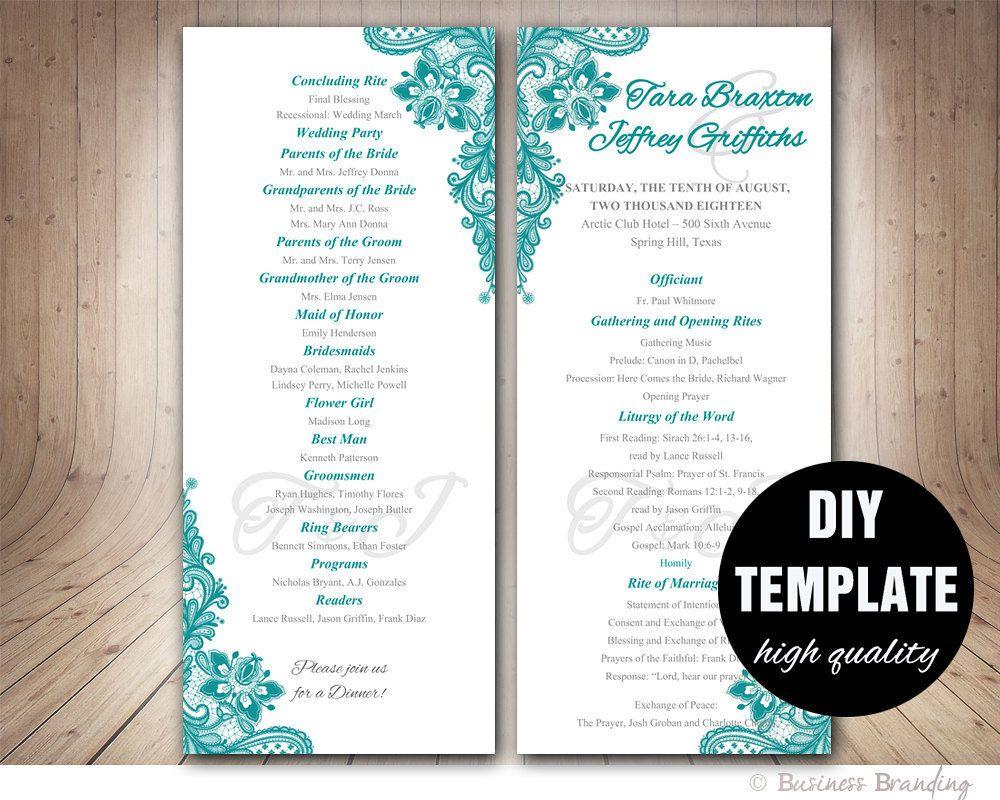 Teal Wedding Program Template Instant Download Microsoft Word