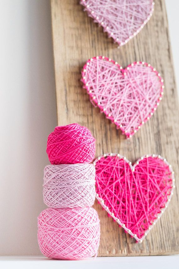 Modern Pink Heart String Art Wall Decor for minimalist, Scandinavian style interiors, great gift for friends, weddings and newlyweds.  This simple yet elegant pink heart decor made on reclaimed greenhouse wood plank will lighten up any interior it is placed in. It Han be easily hanged