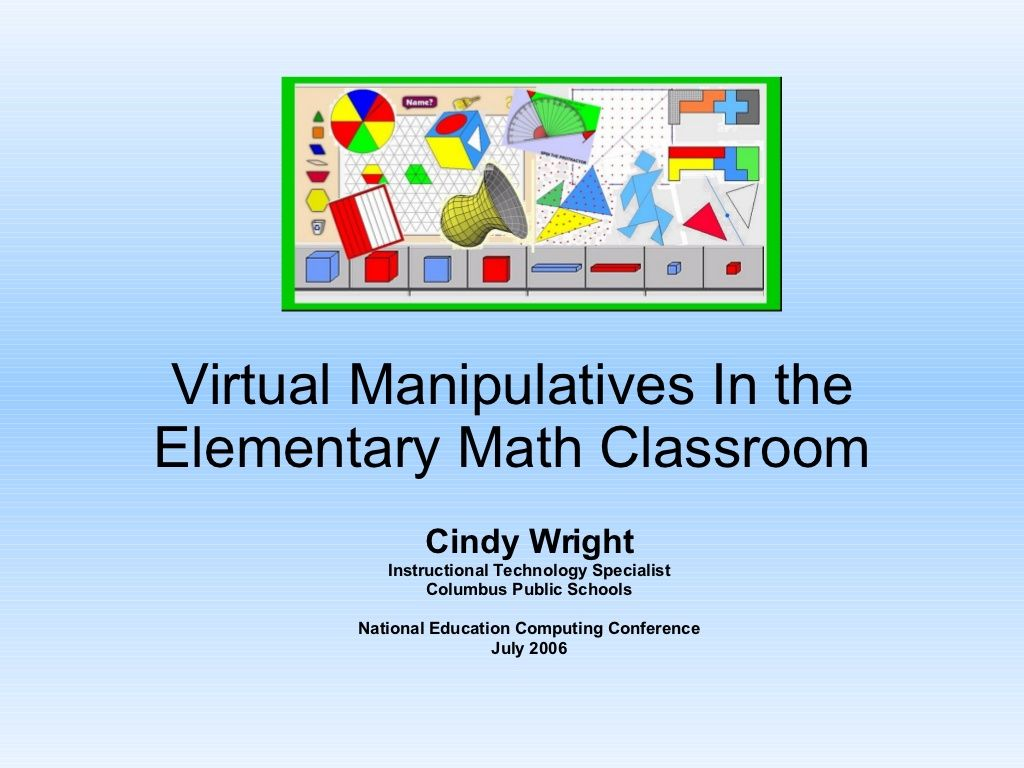 Virtual Manipulatives Presentation By Cindy Wright Via Slideshare Math Classroom Elementary Elementary Math Classroom Teaching Math [ 768 x 1024 Pixel ]