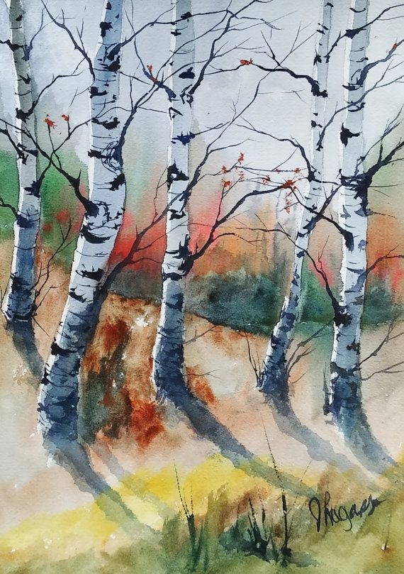 Original Painting Watercolor Painting Original Watercolor Birch
