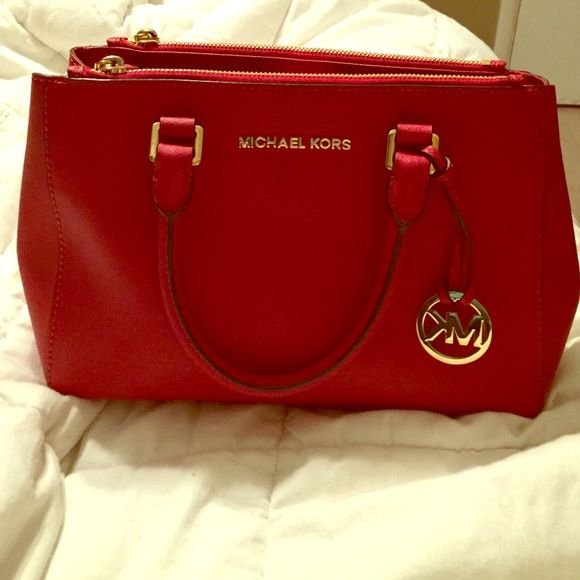 Red Michael Kors Small Sutton Bag Beautiful Mk Purse Like New Bags Shoulder
