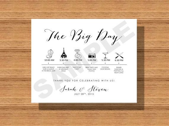Printable Wedding Day Itinerary Card, Wedding Day Timeline for- The ...