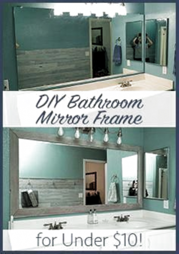Diy Bathroom Mirror Frame Cheap Easy Do It Yourself Mirror Makeover Blue Wood Stain Wh In 2020 Bathroom Mirrors Diy Bathroom Mirror Frame Diy Bathroom