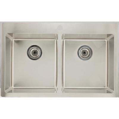16 Gauge Sinks 16 Gauge Sinks Drop In Stainless Steel 31 75 In 1 Hole 50 50 Double Bowl Kitchen Sink In Chrome Silver Sink Double Bowl Kitchen Sink Drop In Kitchen Sink