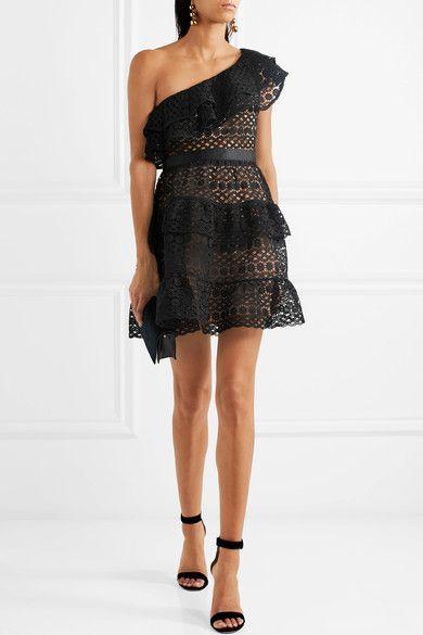ba9302b1c5d2b Self-Portrait - One-shoulder Tiered Guipure Lace Mini Dress - Black ...