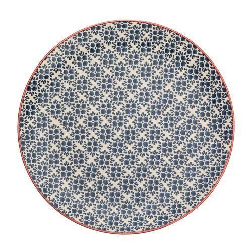 R$ 54,90 Prato Raso Em Cerâmica Azul 27,5cm Florals Kenya