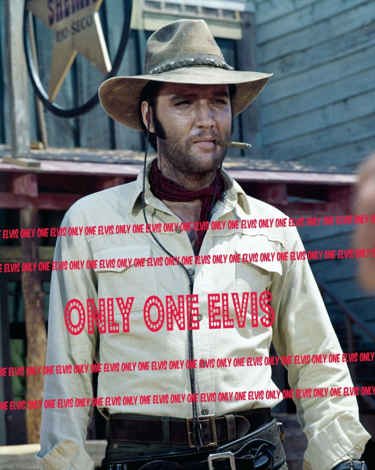 ELVIS PRESLEY in the Movies 1969 8x10 Photo CHARRO in COWBOY HAT with CIGAR