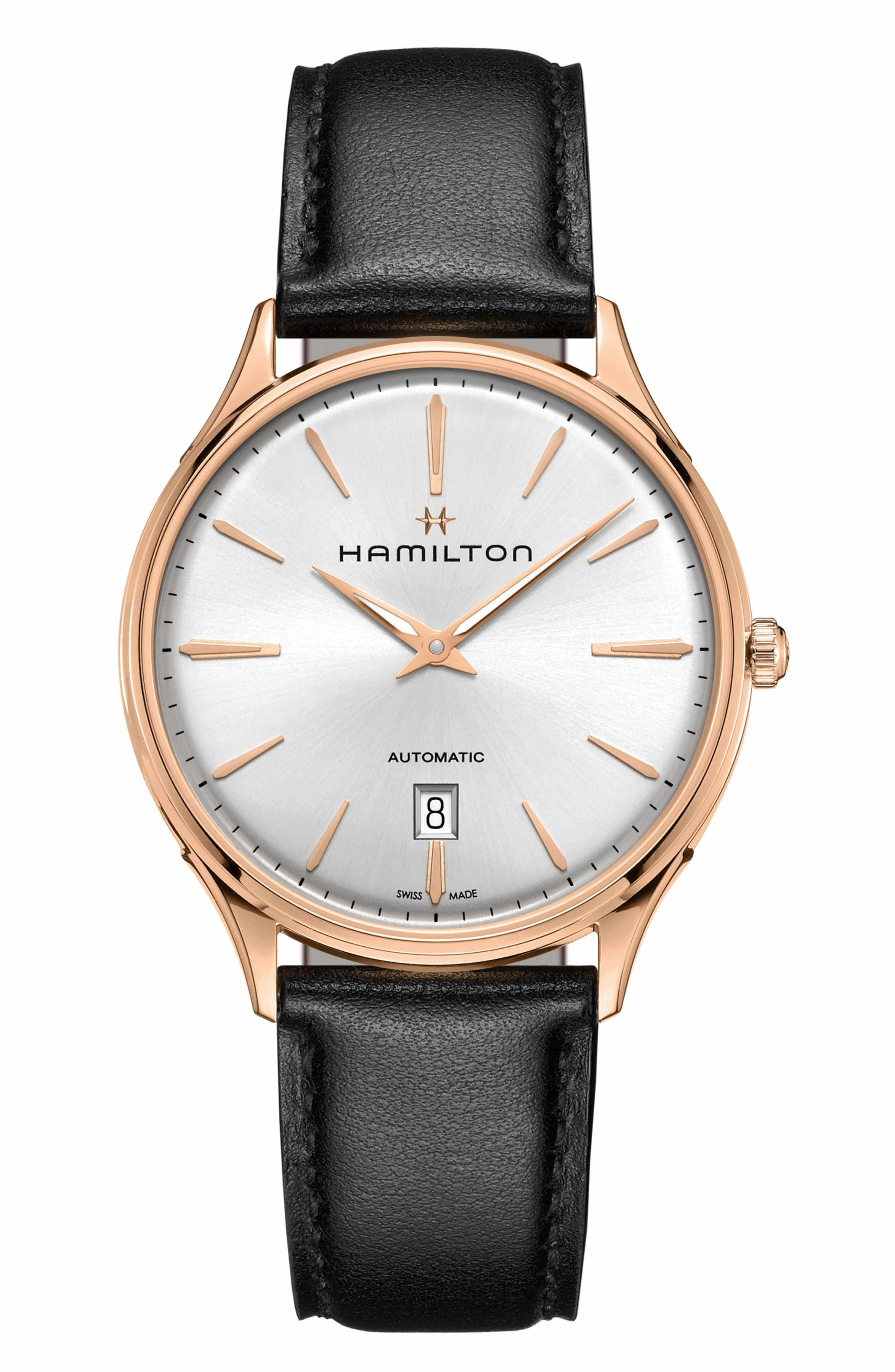 Relojes Para Hombre · Main Image - Hamilton Jazzmaster Thinline 18K Gold  Automatic Leather Strap Watch a21d59f2425f