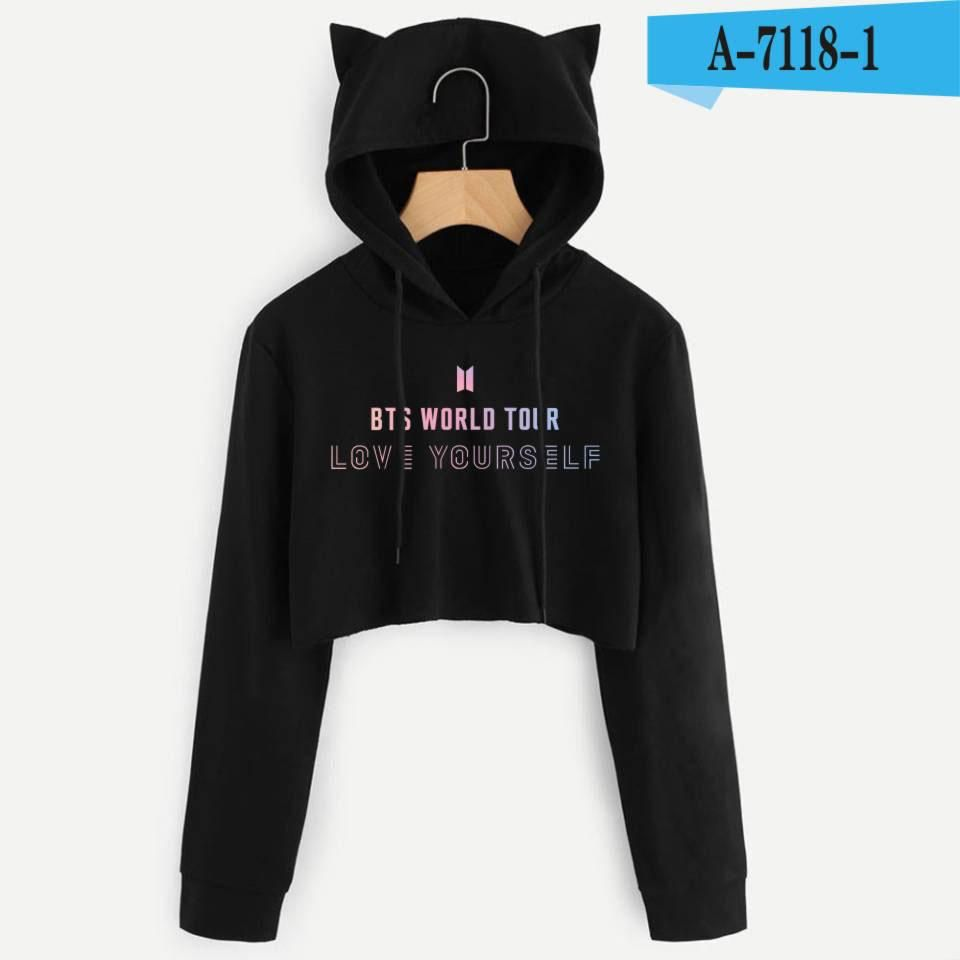 4bf2cf16 BTS Album Love Yourself Tear Fake Love Kpop Long Sleeve Cropped Hoodies  Sweatshirt Women Cat Hooded Pullover Crop Tops Clothes