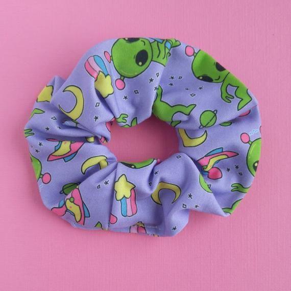 Purple Alien Scrunchie Soft Pastel Goth Knit Scrunchie