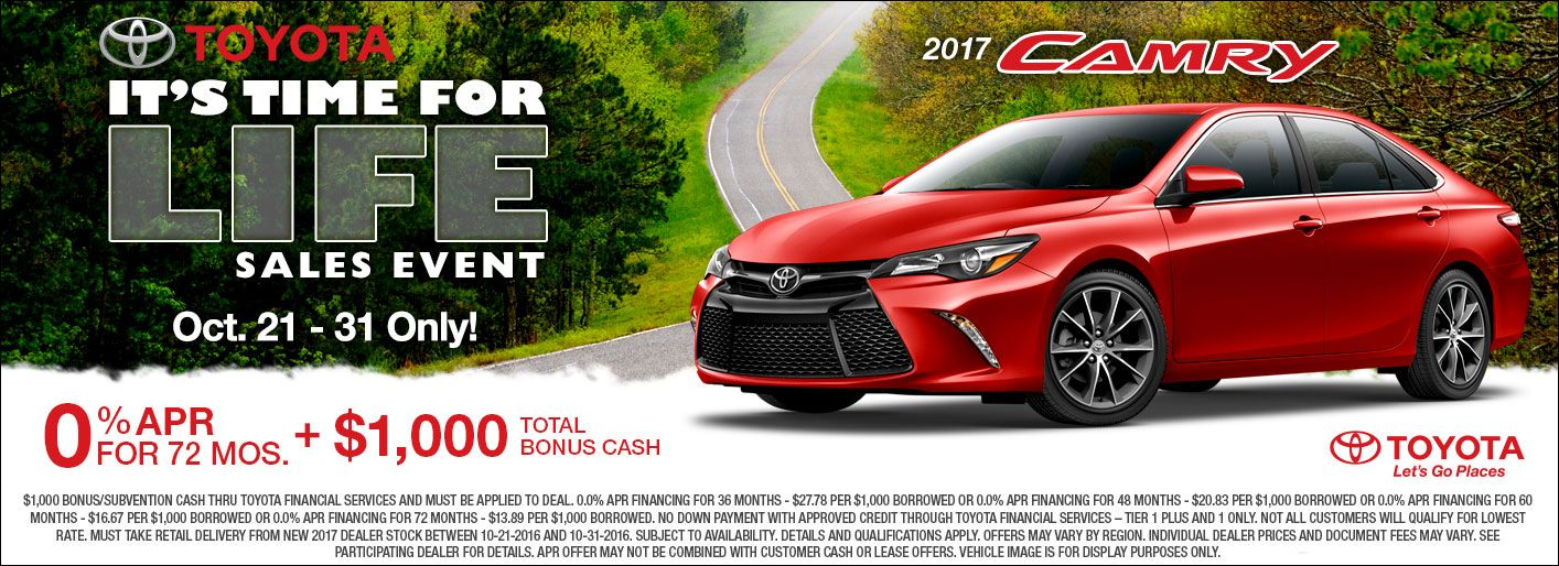 1000 Toyota Bonus Cash 0 Apr Available Through Oct 31st 2016 Only On New 2017 Camry Stock