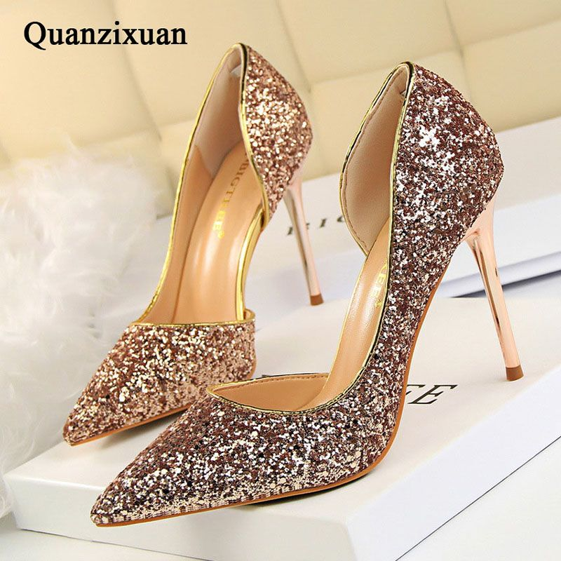 658719b213b7 Cheap glitter high heel shoes